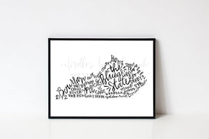 The Bluegrass State 8x10 Print - Doodles by Rebekah