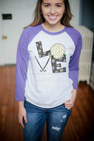 LOVE Golf Raglan - Doodles by Rebekah