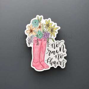 No Rain No Flowers Sticker - Doodles by Rebekah