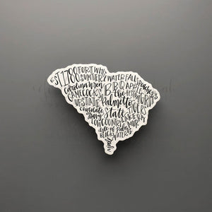 South Carolina Word Art Sticker - Doodles by Rebekah