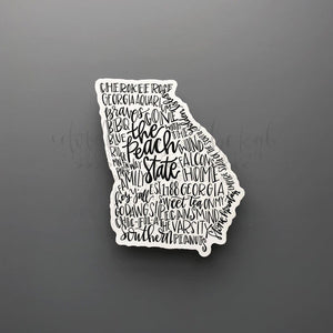Georgia Word Art Sticker - Black / Small - Sticker