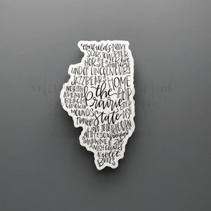 Illinois Word Art Sticker - Doodles by Rebekah