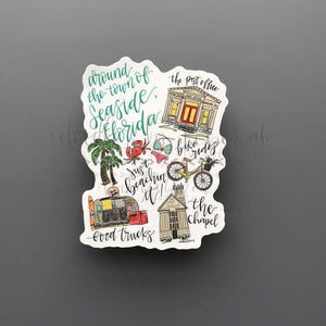 Around Seaside Florida Sticker - Doodles by Rebekah