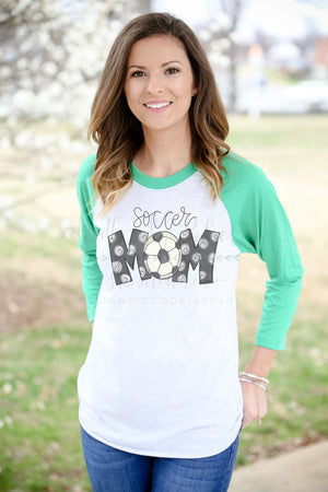 Soccer Mom Raglan - Doodles by Rebekah