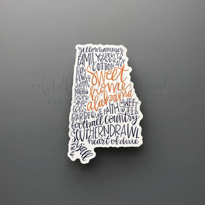 Alabama Word Art Sticker - Doodles by Rebekah