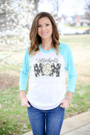 Volleyball Mom Raglan - Doodles by Rebekah