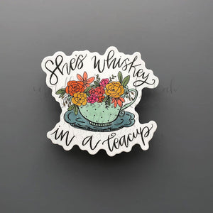 She's Whiskey in a Teacup Sticker - Doodles by Rebekah