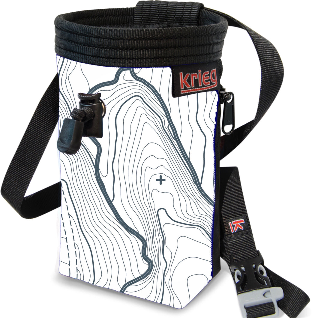 White topographic map Climbing Chalk Bag Krieg