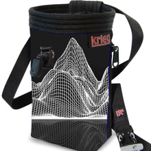 Load image into Gallery viewer, Mountains topo profile black Chalk Bag Krieg climbing chalkbag