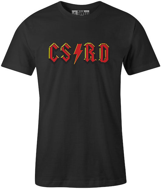 Classic ACDC Rock & Roll Styled Cortland SUNY Black T-Shirt