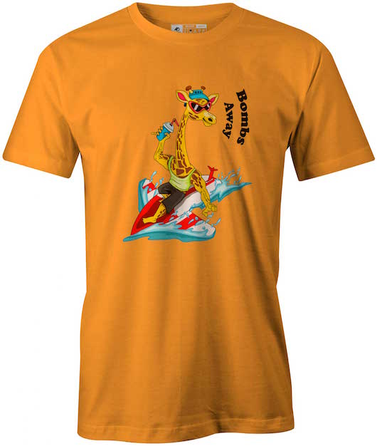Surfing Giraffe Bombers, Ithaca College Gold T-Shirt