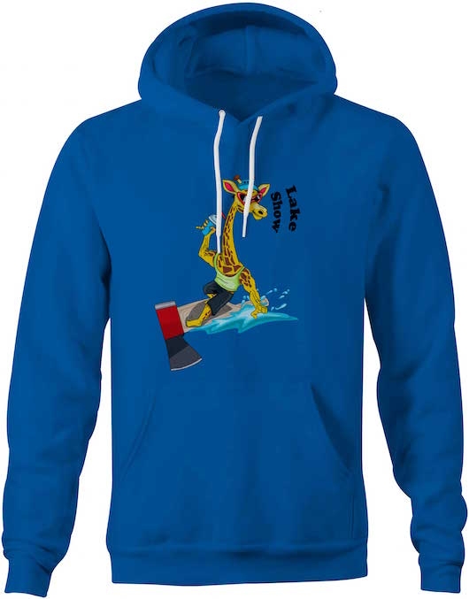 Surfing Giraffe, Lakers Blue Sweatshirt