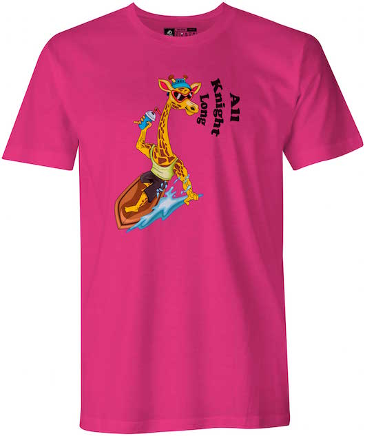 Surfing Giraffe Calvin College Knights Berry Red T-Shirt