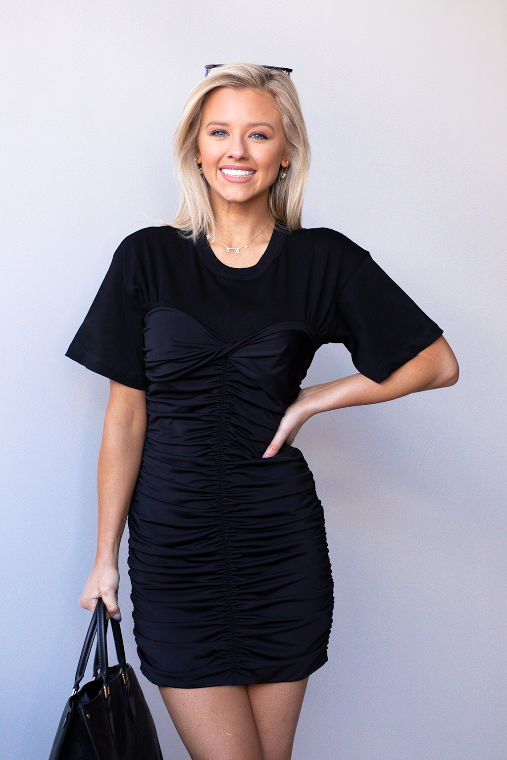 Y'ALL REMEMBER OUR WHITE AND BLACK SCRUNCH TOP. THIS IS THE SISTER DRESS... BUT IN ALL BLACK. IT'S SASSY AND DARING <3 <3 <3 -Taylor is wearing a size xsmall  -color: black -tshirt material until chest -spandex stretchy material for rests of dress -elastic waistband  -scrunch fit