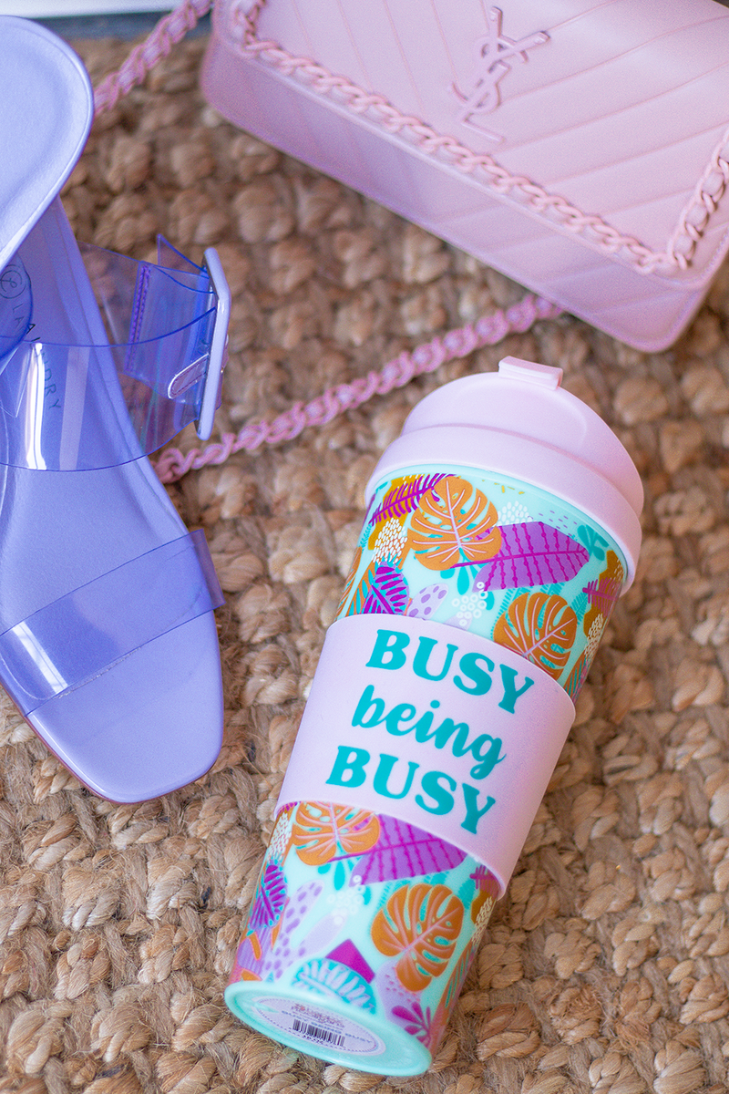 OH WE FEEL LIKE THIS IS JUST GOING TO FLY. LAST TIME WE BROUGHT IN CUTE CUPS YALL WENT CRAZY FOR THEM. WE LOVE THIS ONE MADE FOR EVERYONE!, WE FEEL LIKE EVERYONE CAN RELATE.   -color: tropical pattern with pink lining