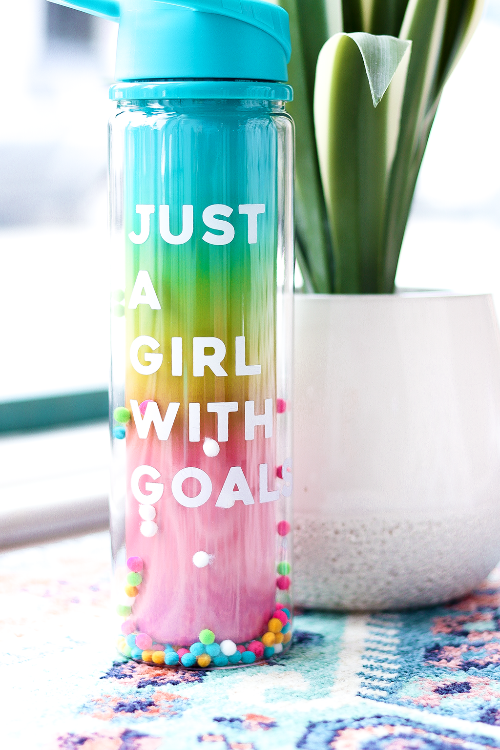 Just A Girl With A Goal Water Bottle, Rainbow
