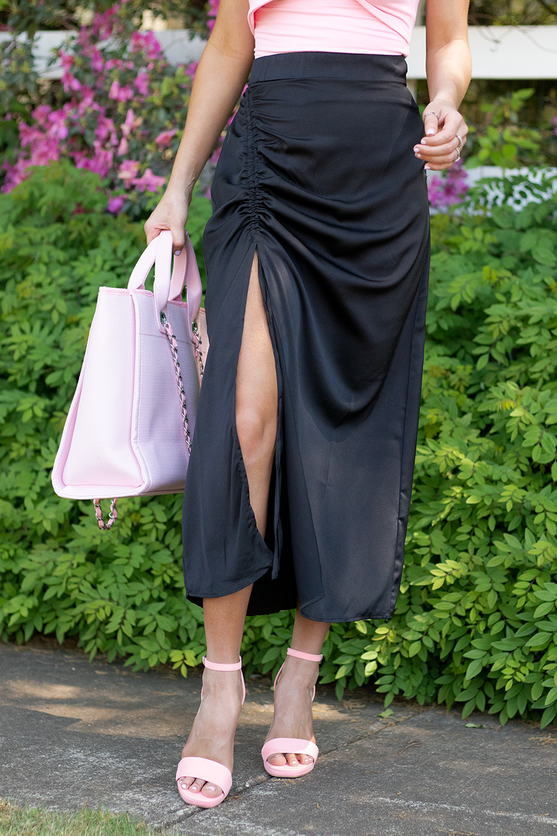 Meet In Malibu Midi Skirt, Black