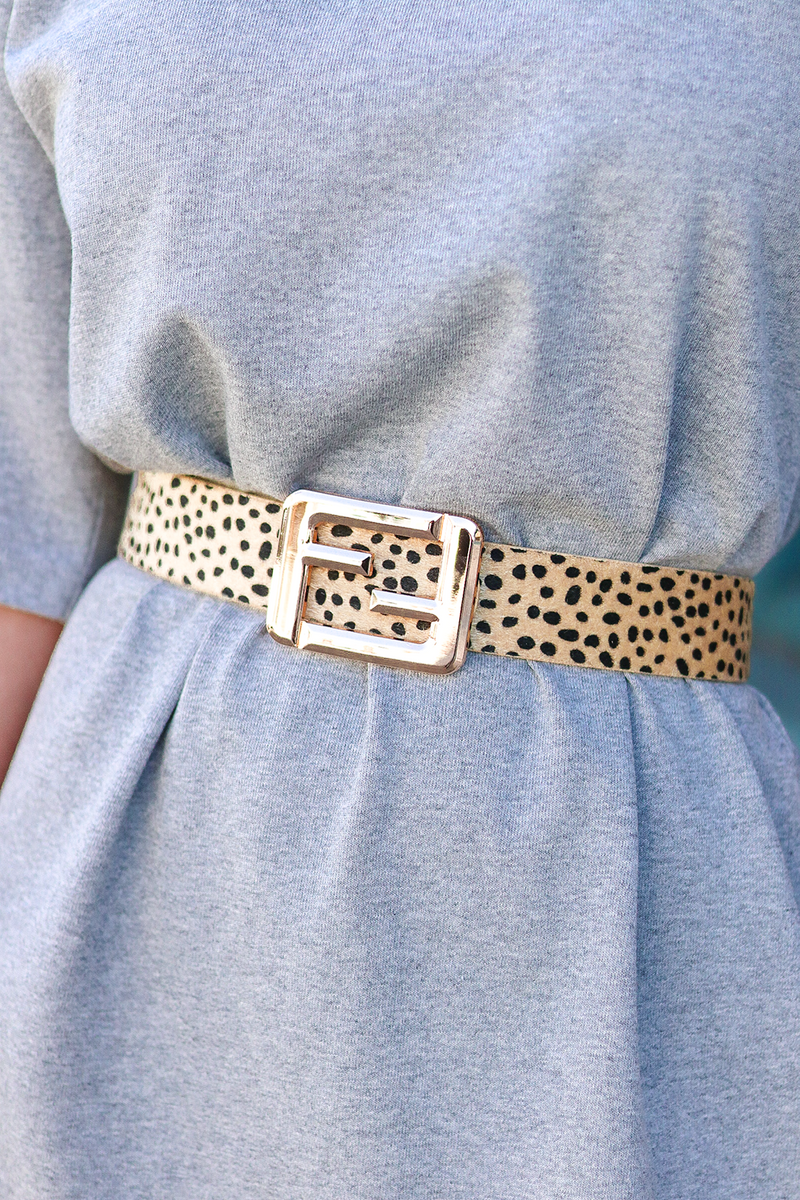 A LITTLE CHEETAH ACTION TO SPICE UP ANY OUTFIT. THIS FUN DESIGNER BELT IS GOING TO BE THE ADDITION YOU NEVER KNEW YOU NEEDED.