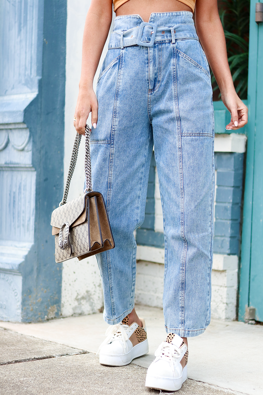 Ahead of You Paper bag Jeans, Light Wash Denim