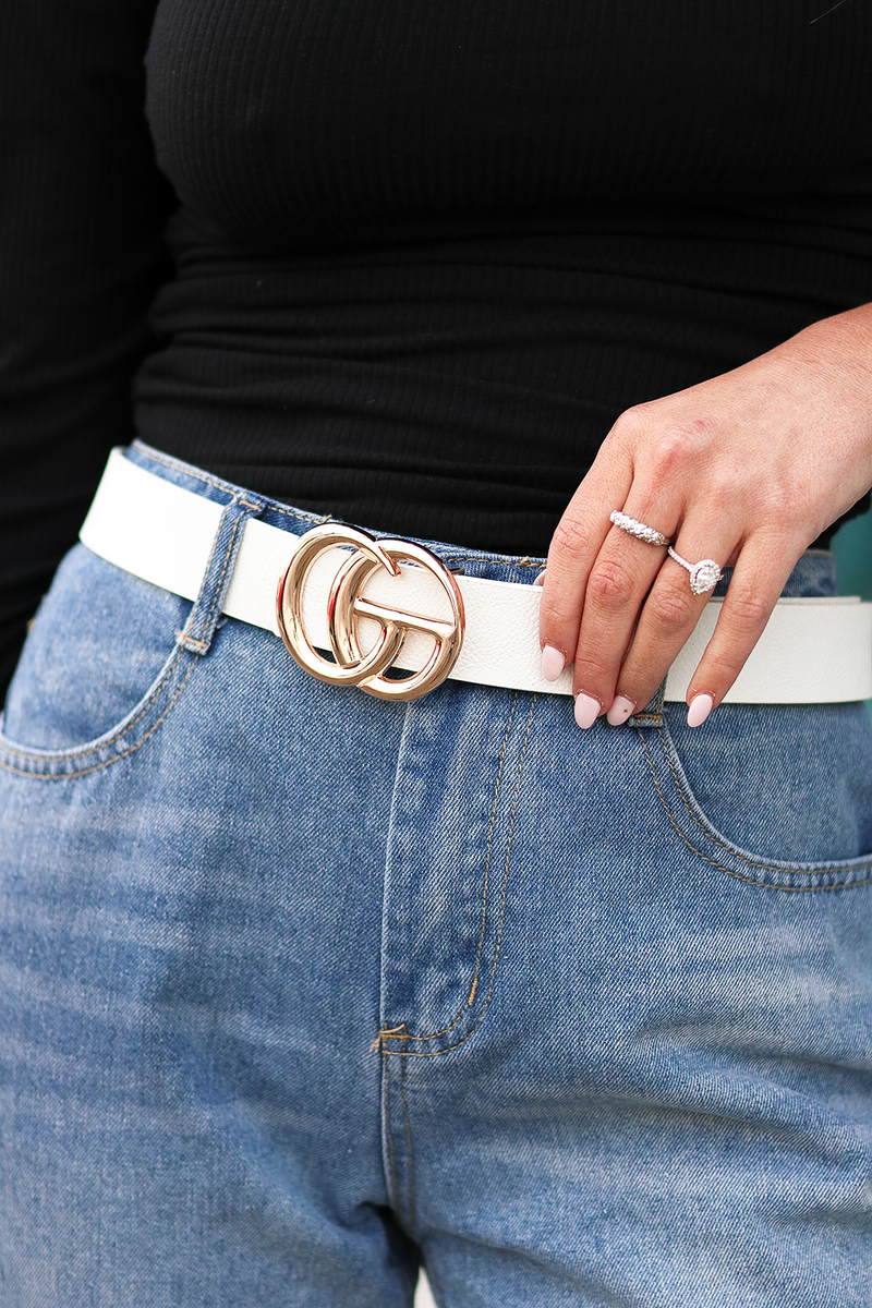 Double Trouble Belt, White/Gold