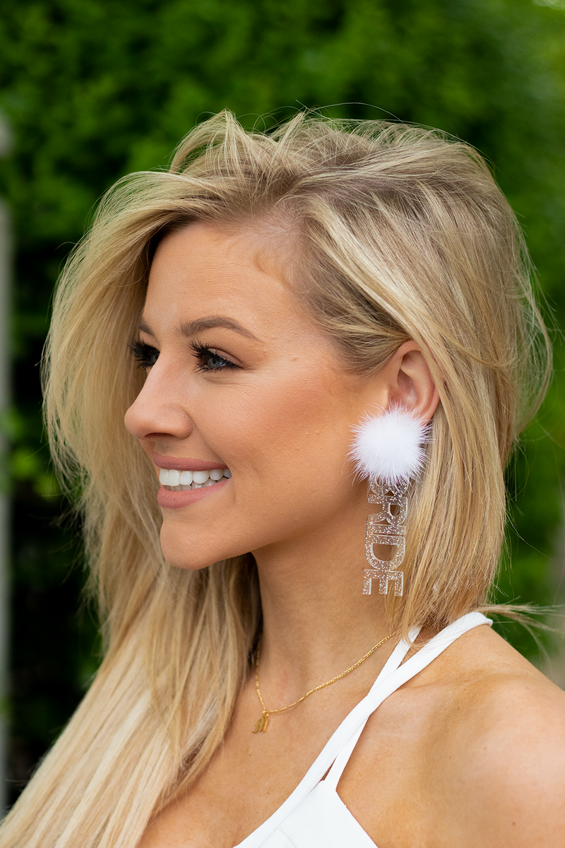 Bride Is Me Earrings, Clear Sparkle