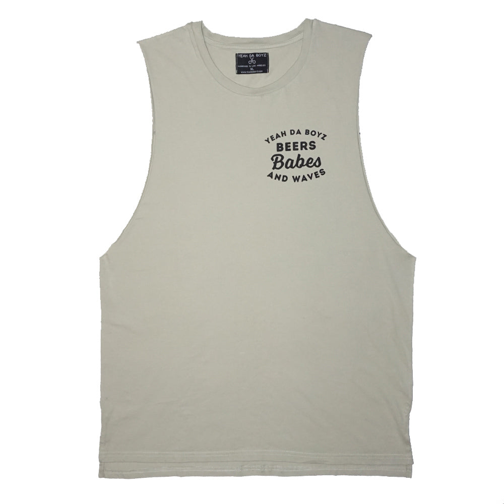 BEERS BABES AND WAVES TANK ~ OLIVE