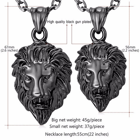 gun plated lion necklace hip hop jewelry