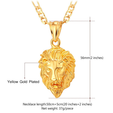 small gold lion necklace hip hop jewelry