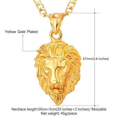 gold lion necklace hip hop jewelry