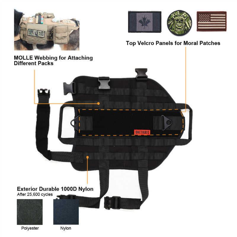 Tactical dog harness features