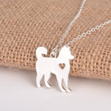 Siberian Husky With Love Heart Necklace
