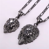 small and big size comparison of gun plated hip hop lion necklace