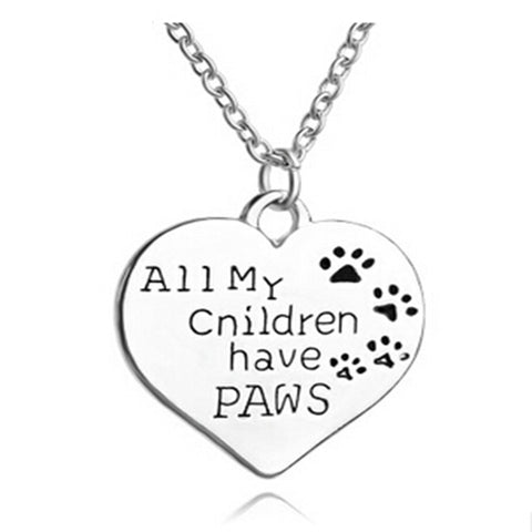 Paw print with heart necklace wholesale fashion jewelry