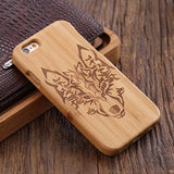 wood iphone case bamboo wood wolf