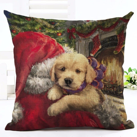 Christmas Puppy & Santa Cushion Cover