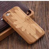wood iphone case bamboo wood sunflower