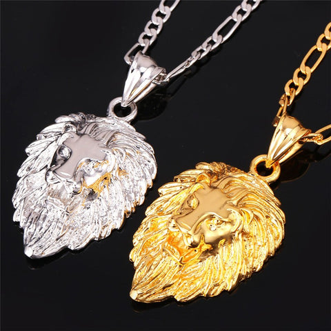 Platinum and gold lion head hip hop necklace pendants