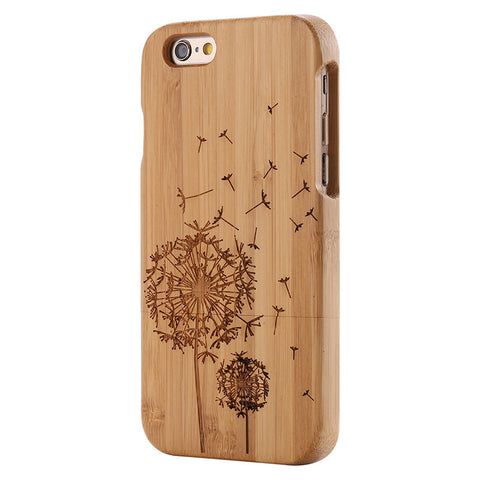 wood iphone case bamboo wood dandelion