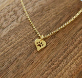 Heart Paw Print Necklace - The Kind Owl