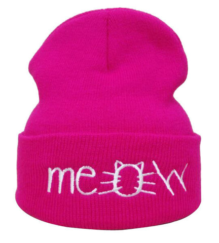 Pink pussyhat beanie with Meow written on the front