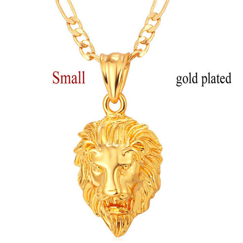 Small gold plated lion hip hop necklace