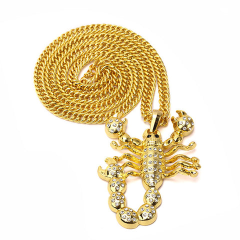 scorpion gold plated hip hop necklace