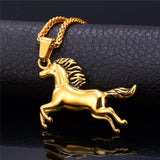 Gold horse hip hop jewelry