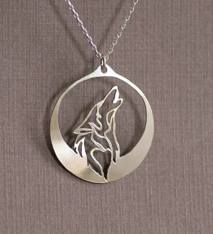 Silver wolf and moon necklace
