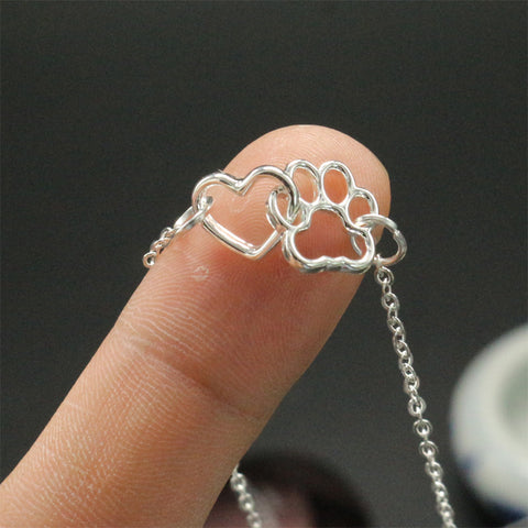 Gorgeous Paw Linking Heart Necklace