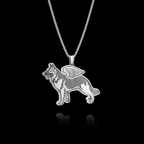 Dog Jewelry German Shepherd with angel wing necklace