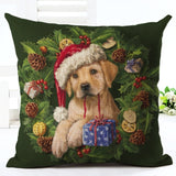 Puppy In Santa Hat Christmas Cushion Cover