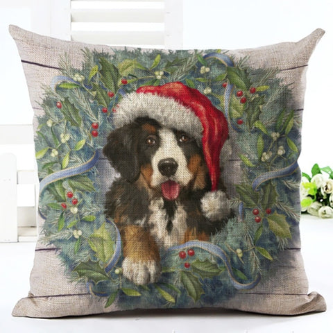 Bernese Mountain Dog Christmas Cushion Cover