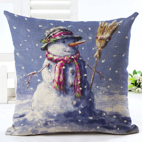 Christmas Snowman Cushion Cover