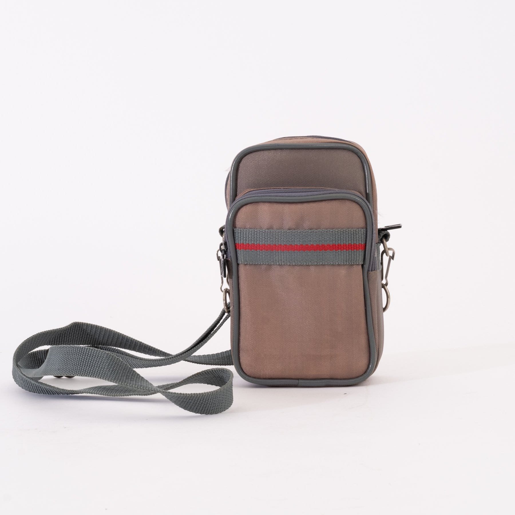 --Beige with Red Stripe Camera Carrying Case for Point and Shoot Cameras--